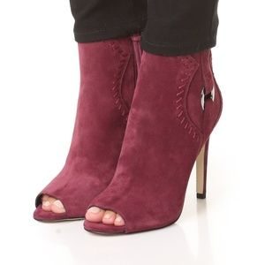"Rebecca Minkoff ""Ridley"" open toe, suede Booties"